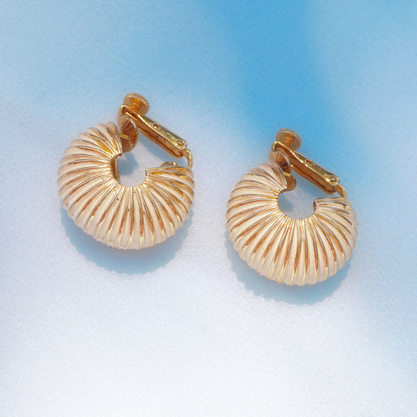 Vintage Cream Enamel Domed Chunky Hoop Earrings by Vendome, 1960s