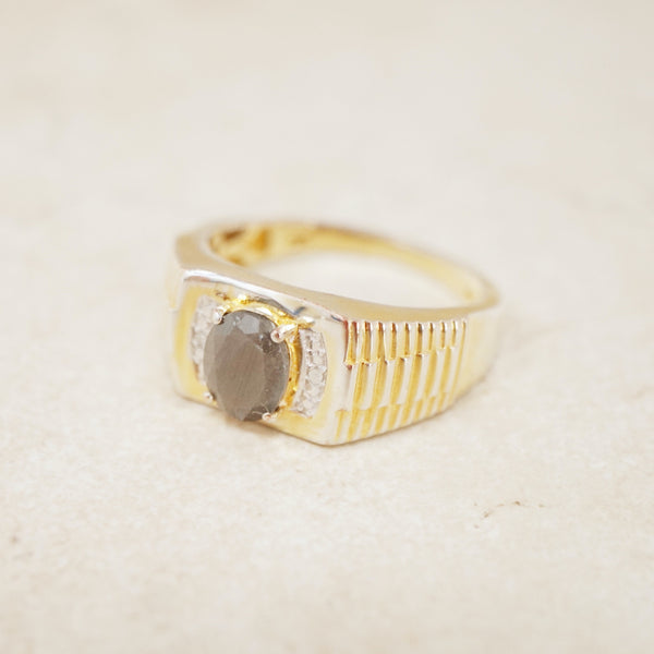 Gold Vermeil Chunky Sapphire Ring with Diamond Accents