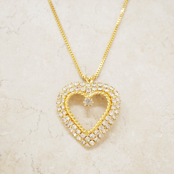 Vintage Crystal Pavé Heart Necklace, 1980s