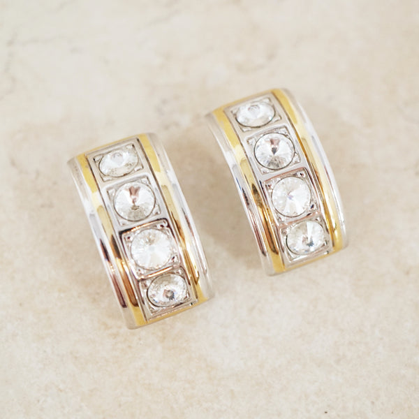 Vintage Two Tone Rhinestone Half Hoop Earrings