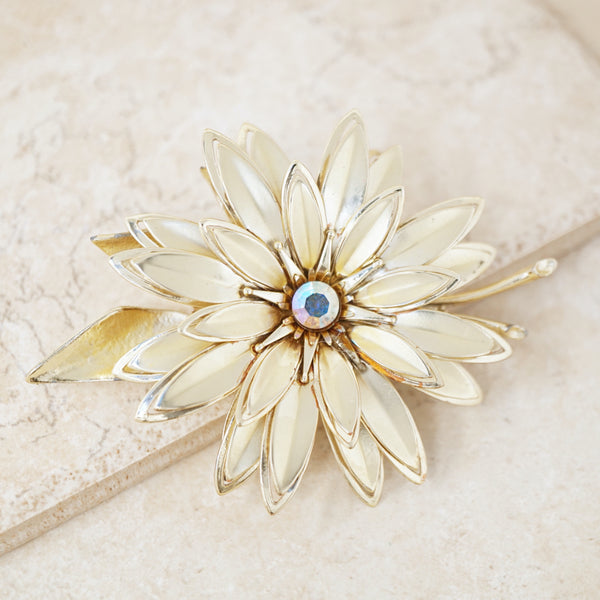 Vintage Gilded Three Dimensional Flower Figural Brooch with Aurora Borealis Crystal, 1960s