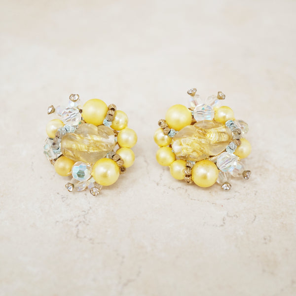Vintage Faux Yellow Pearl Cluster Earrings by Vendome, 1950s