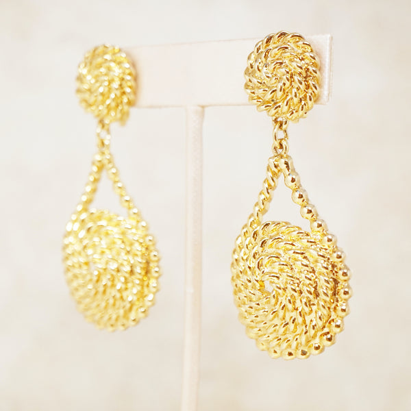 Vintage Oversized Gilded Rope Swirl Drop Earrings, 1990s