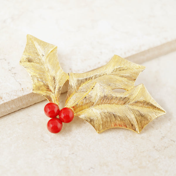 Vintage Gilded Holly Christmas Brooch by Trifari, 1970s