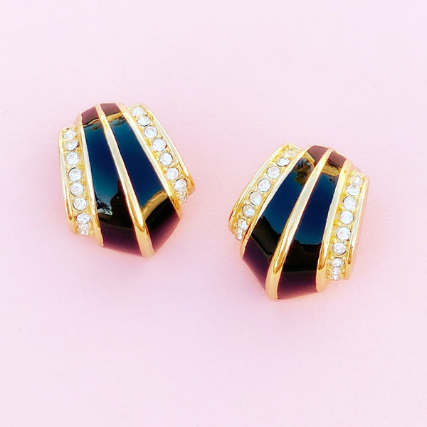 Vintage Gilt & Black Enamel Art Deco Style Earrings with Crystals by Christian Dior, 1980s