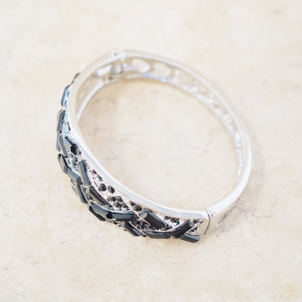 Black Crystal Confetti Bangle