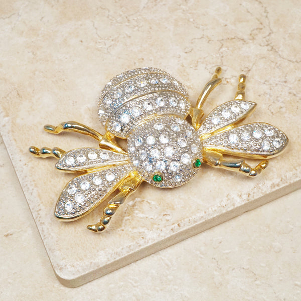 Vintage Oversized Gilt & Crystal Pavé Flying Bug Brooch, 1980s