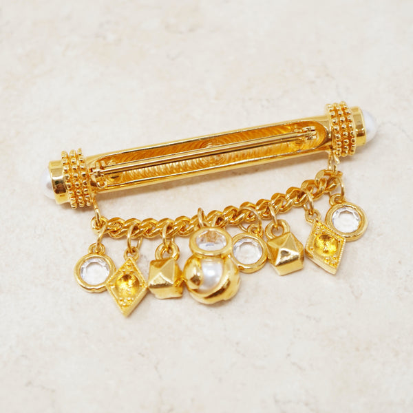 Vintage Gilded Bar Brooch with Chain & Charm Dangle by St. John, 1980s