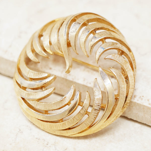 Vintage Gilded Abstract Circular Swirl Brooch by Crown Trifari, 1950s