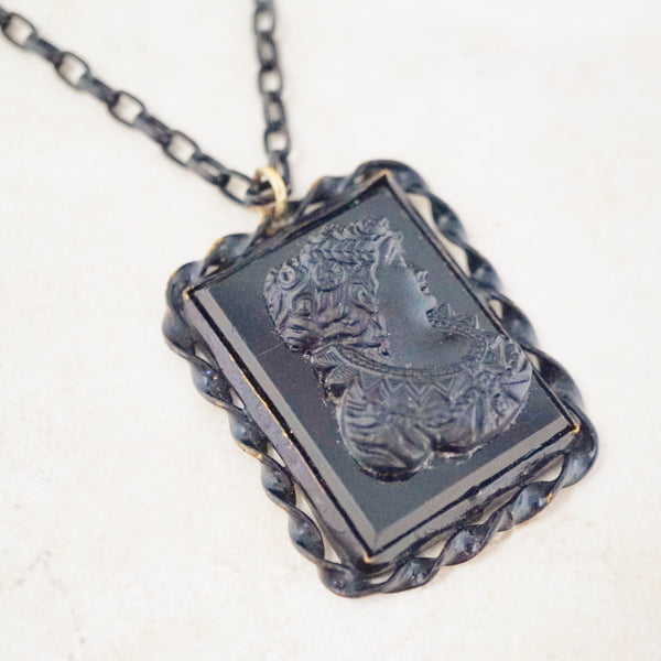 Antique Victorian Cameo Mourning Necklace