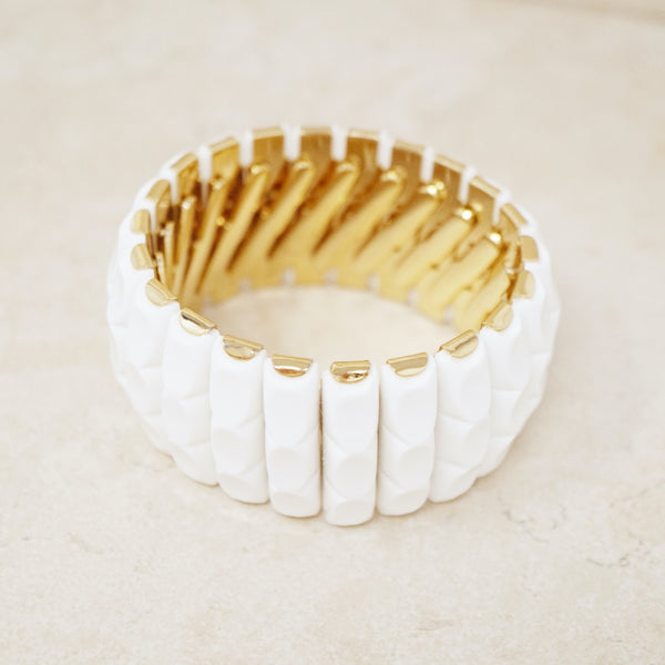 Vintage White & Gold Stretch Bracelet, 1970s