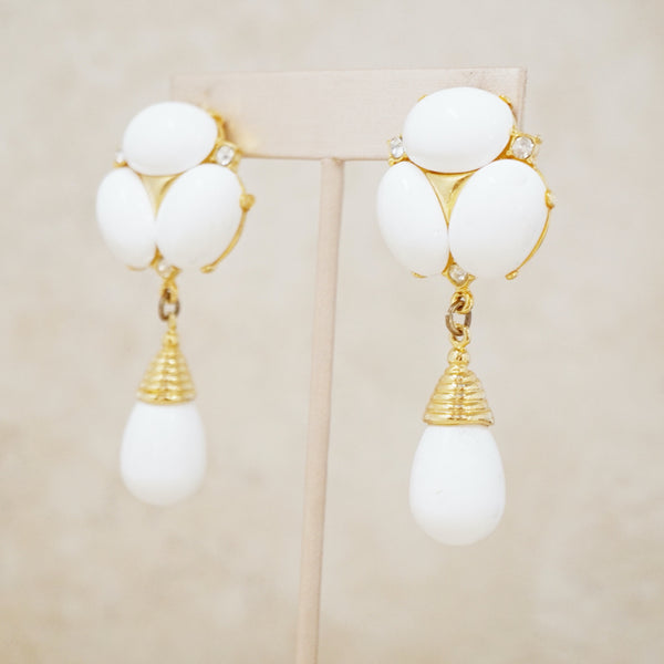 Vintage White & Gold Statement Drop Earrings, 1980s