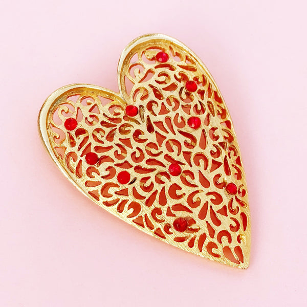 Vintage Gilded Heart Filigree Brooch with Ruby Red Crystal Accents, 1960s