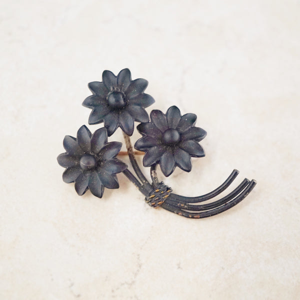 Antique Victorian Flower Bunch Mourning Brooch