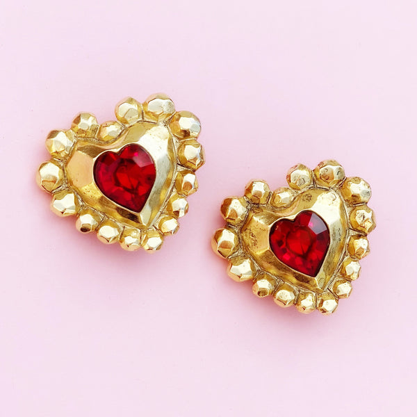 Vintage Oversized Gilded Ruby Red Crystal Heart Earrings by Emanuel Ungaro, 1980s