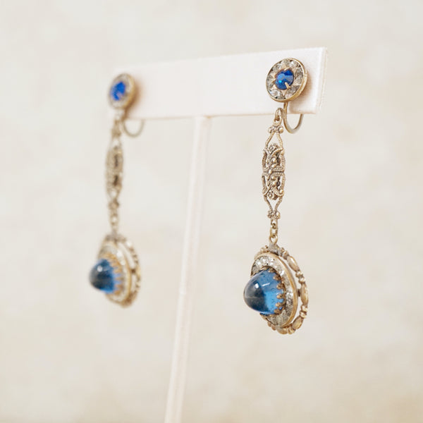 Vintage Art Deco Drop Earrings with Blue Sapphire Glass Cabochons, 1930s