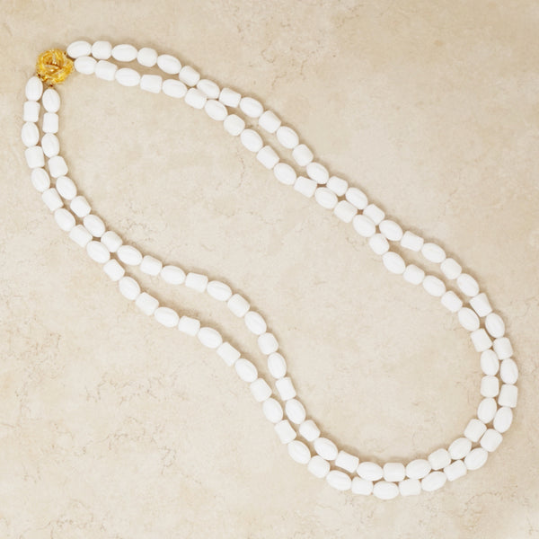 Vintage White Beaded Necklace with Gold Rose Clasp, 1960s