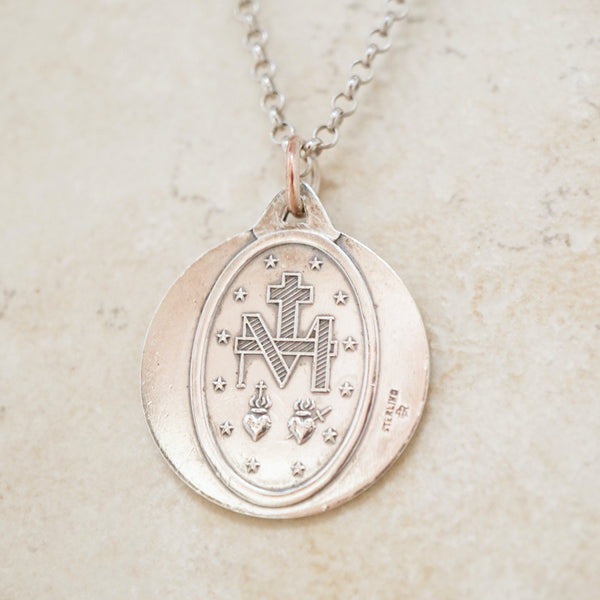 Vintage Sterling Silver Virgin Mary Coin Pendant Necklace