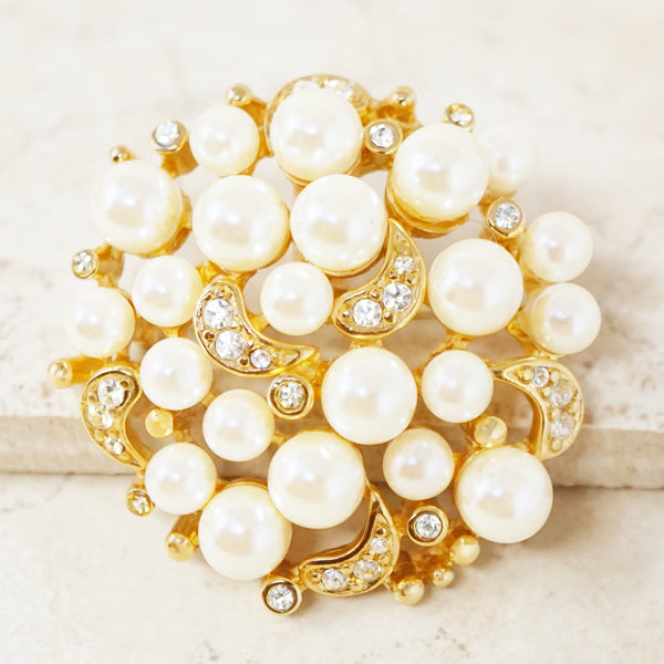 Vintage Gilded Pearl Cluster Brooch with Crystal Rhinestones by Erwin Pearl, 1980s
