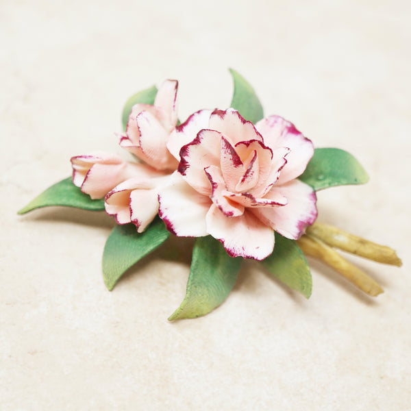 Vintage Hand Painted Porcelain Pink Flower Bouquet Brooch, 1960s
