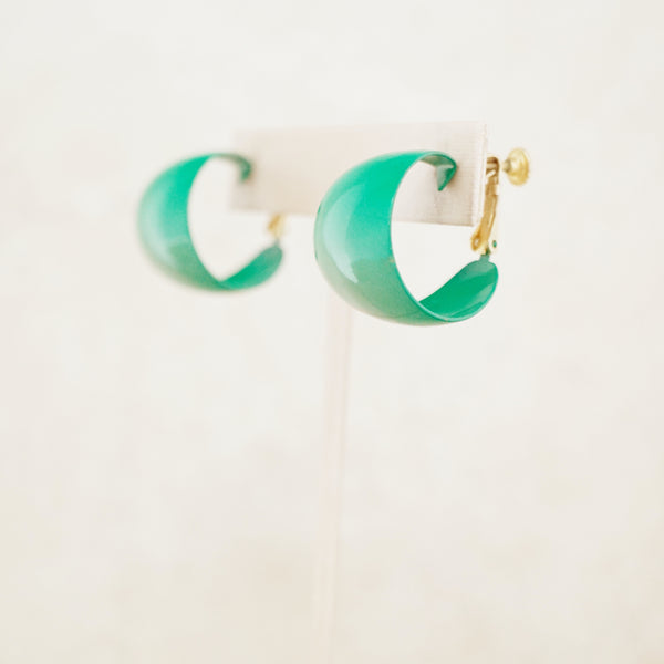 Vintage Forest Green Enameled Chunky Hoop Earrings by Napier, 1970s