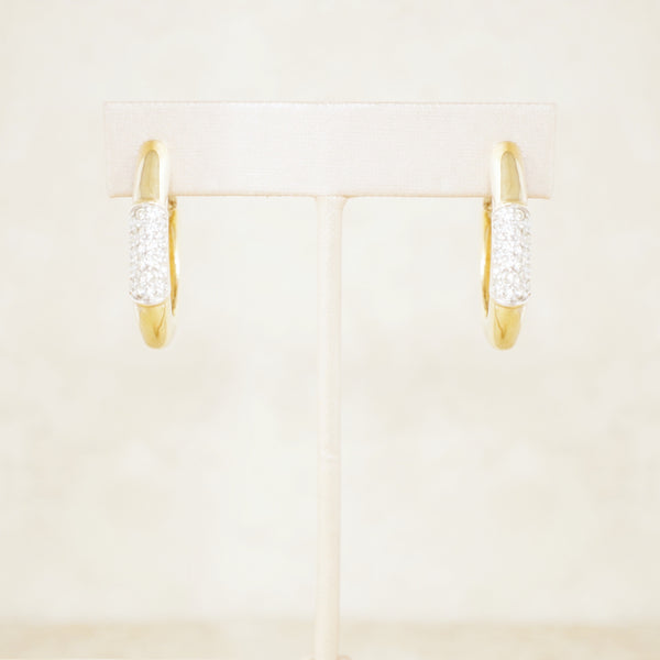 Vintage Gilded Tubular Teardrop Hoop Earrings with Crystal Pavé by Panetta, 1980s