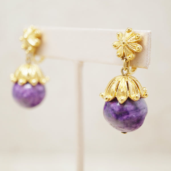 Vintage Gilt & Grape Purple Beaded Earrings by Crown Trifari, 1960s