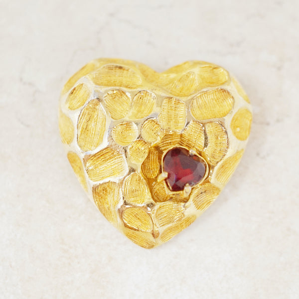 Vintage Textured Heart Trembler Brooch by Jeanne, 1950s