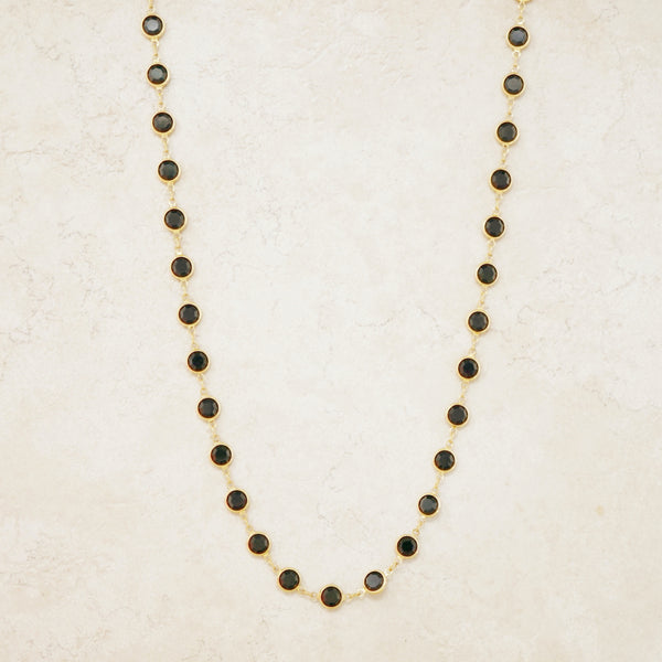 "Vintage 36"" Onyx Swarovski Crystal Gold Bezel Station Necklace by Swarovski, 1980s"