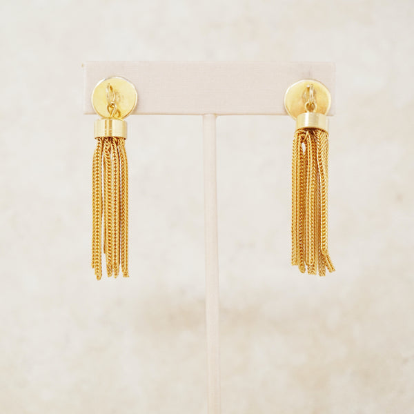 Vintage Gold Tassel Earrings, 1970s