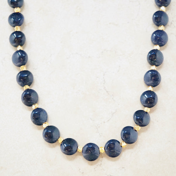 Blue Goldstone Gemstone Necklace
