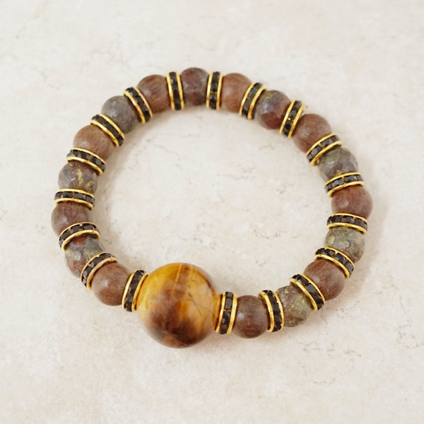 Tiger's Eye, Sandalwood & Dragon Bloodstone Jasper Gemstone Rondelet Bracelet