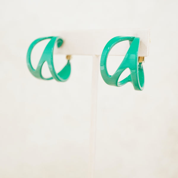 Vintage Forest Green Enameled Chunky Abstract Hoop Earrings by Napier, 1970s
