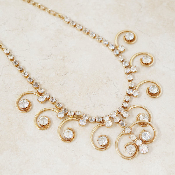 "Vintage Gilded ""Enchantress"" Rhinestone Swirl Necklace by Sarah Coventry, 1970s"