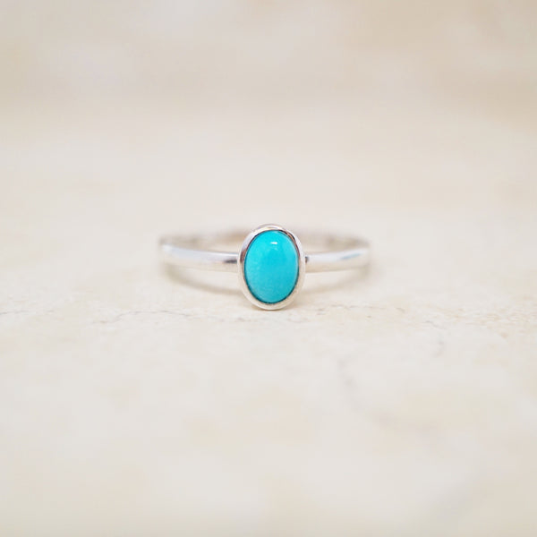 Sterling Silver Dainty Turquoise Ring