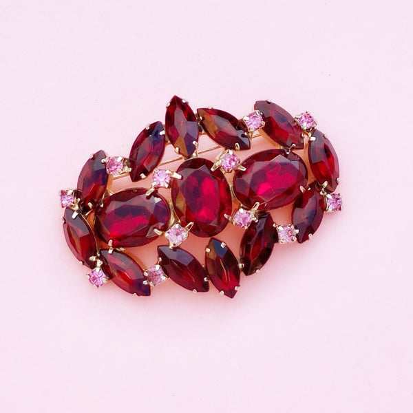 Vintage Juliana-Style Garnet Red & Rose Pink Rhinestone Brooch, 1960s