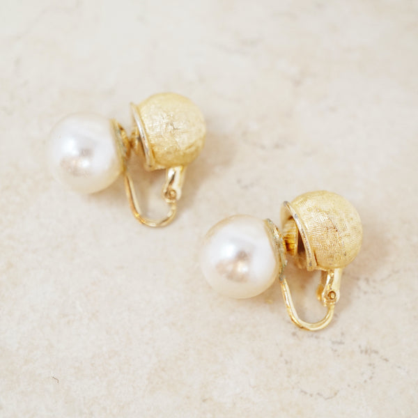 Vintage Double Sided Pearl & Brushed Gold Earrings, 1960s