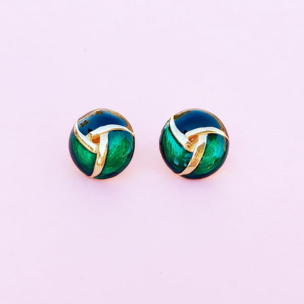 Vintage Peacock Green Enamel Button Earrings, 1980s