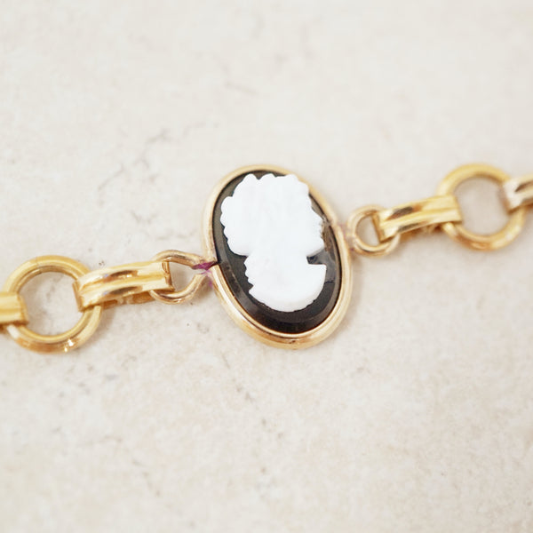 Vintage 12k Gold Filled Cameo Bracelet by Van Dell, 1940s