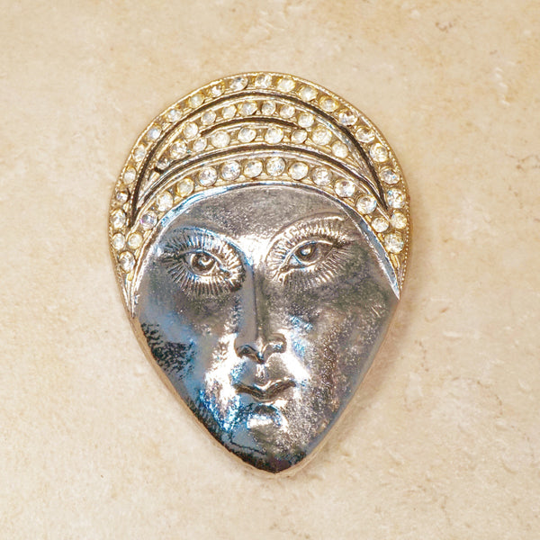 Vintage Woman with Turban Fortune Teller Figural Brooch by Polcini, 1960s