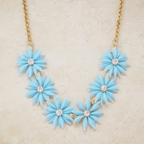 Vintage Baby Blue Plastic Flower Necklace, 1960s