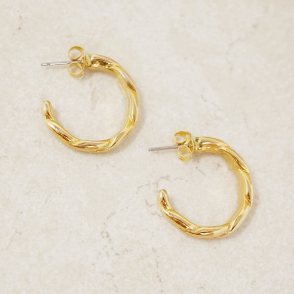 Vintage Gold Twisted Mini Hoop Earrings, 1970s