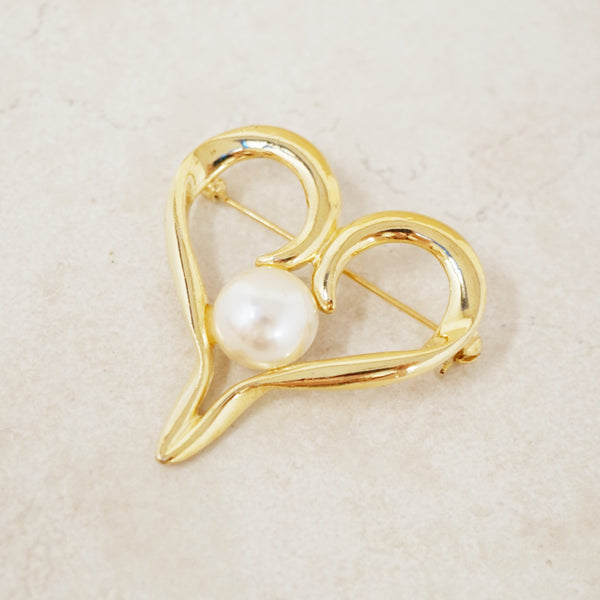 Vintage Gold Heart Brooch with Pearl Accent, 1980s