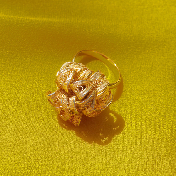 Vintage Gold Filigree Flower Statement Cocktail Ring by Napier, 1970s