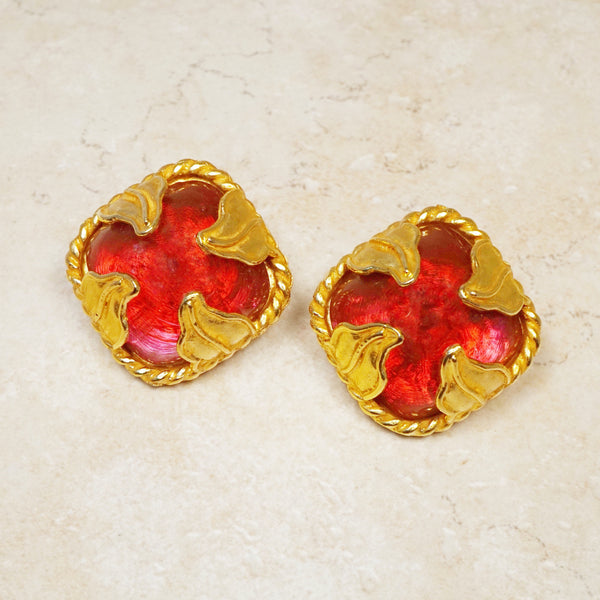 Vintage Oversized Ruby Red Gripoix Glass Dome Earrings with Gilded Leaves by Dominique Aurientis, 1980s