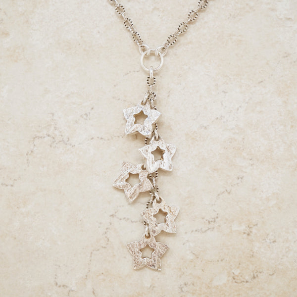 Vintage Sterling Silver Falling Stars Necklace