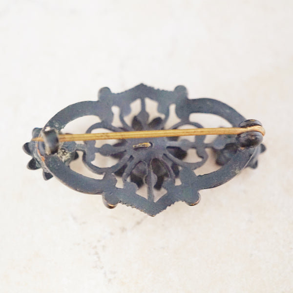 Antique Victorian Floral Mourning Brooch