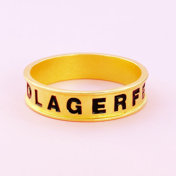 "Vintage Gilt & Black Enamel ""LAGERFELD"" Skinny Bangle Bracelet By Karl Lagerfeld, 1980s"