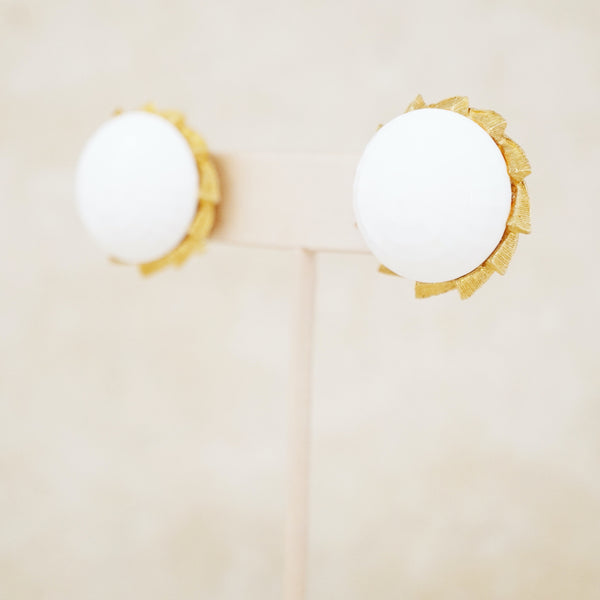 Vintage Faceted White Milk Glass Button Earrings, 1960s