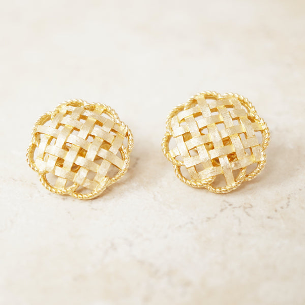 Vintage Gilded Basket Weave Earrings by Crown Trifari, 1950s